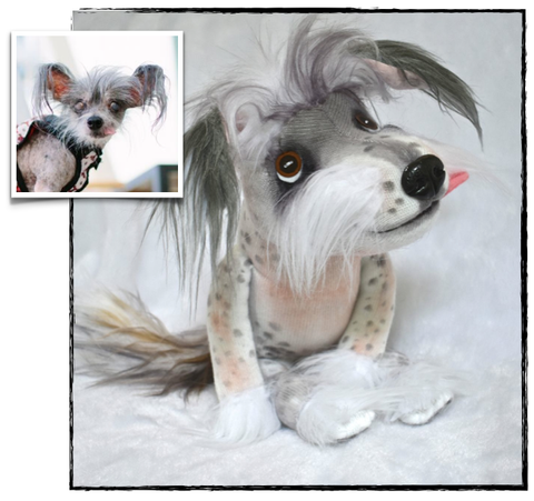 Chinese Crested Dog Stuffed Animal Plush