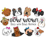 Dogs with Bows Clip Art—10 Digital Files