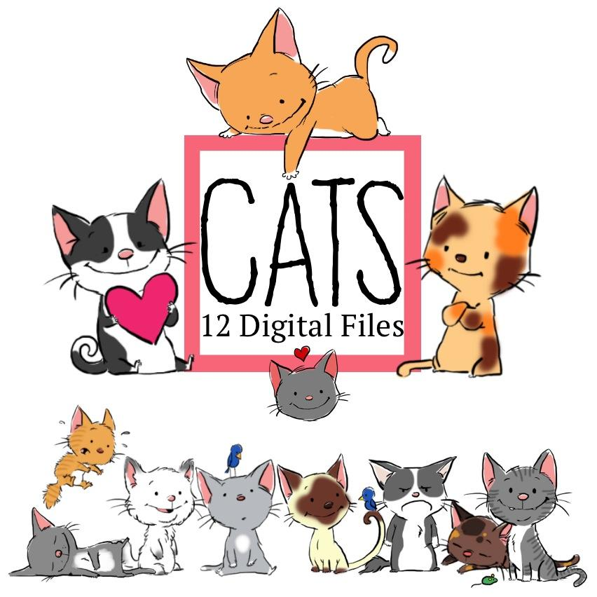 Downloadable - Cute Cats Clip Art—12 Digital Files
