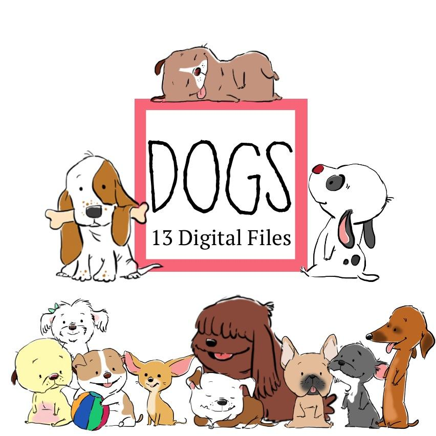 Downloadable - Cute Dogs Clip Art—13 Digital Files