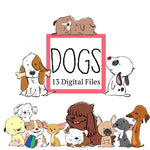 Cute Dogs Clip Art—13 Digital Files