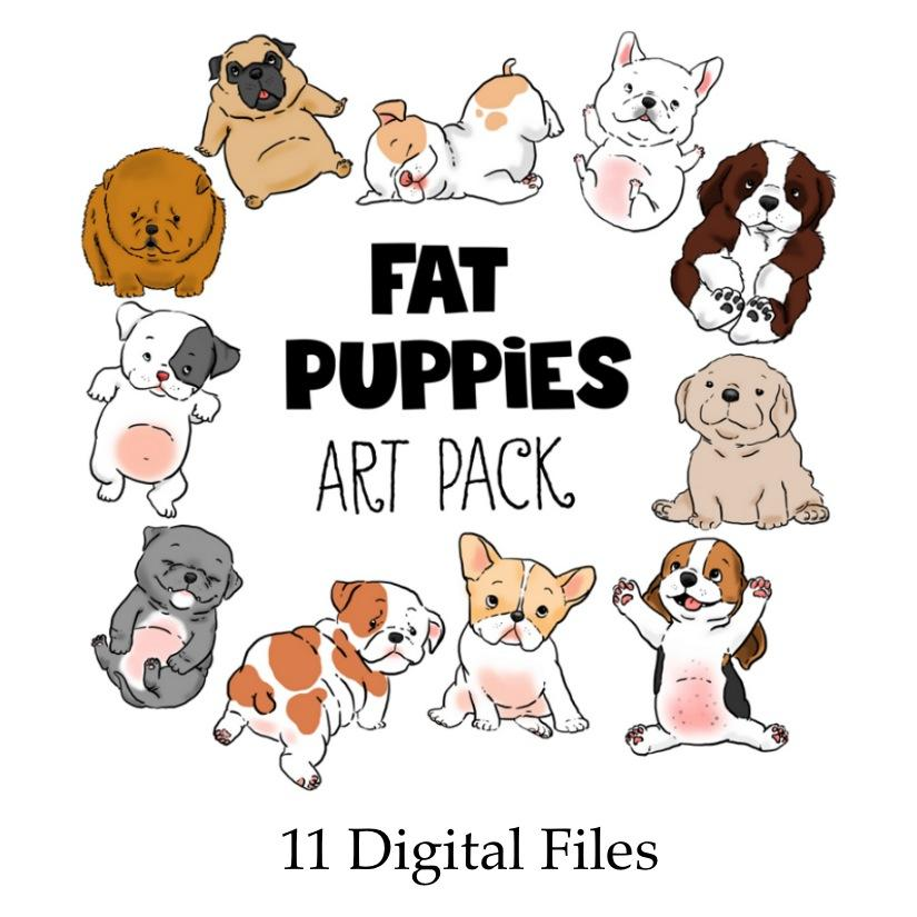 Downloadable - Fat Puppies Clip Art—11 Digital Files