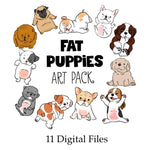 Fat Puppies Clip Art—11 Digital Files