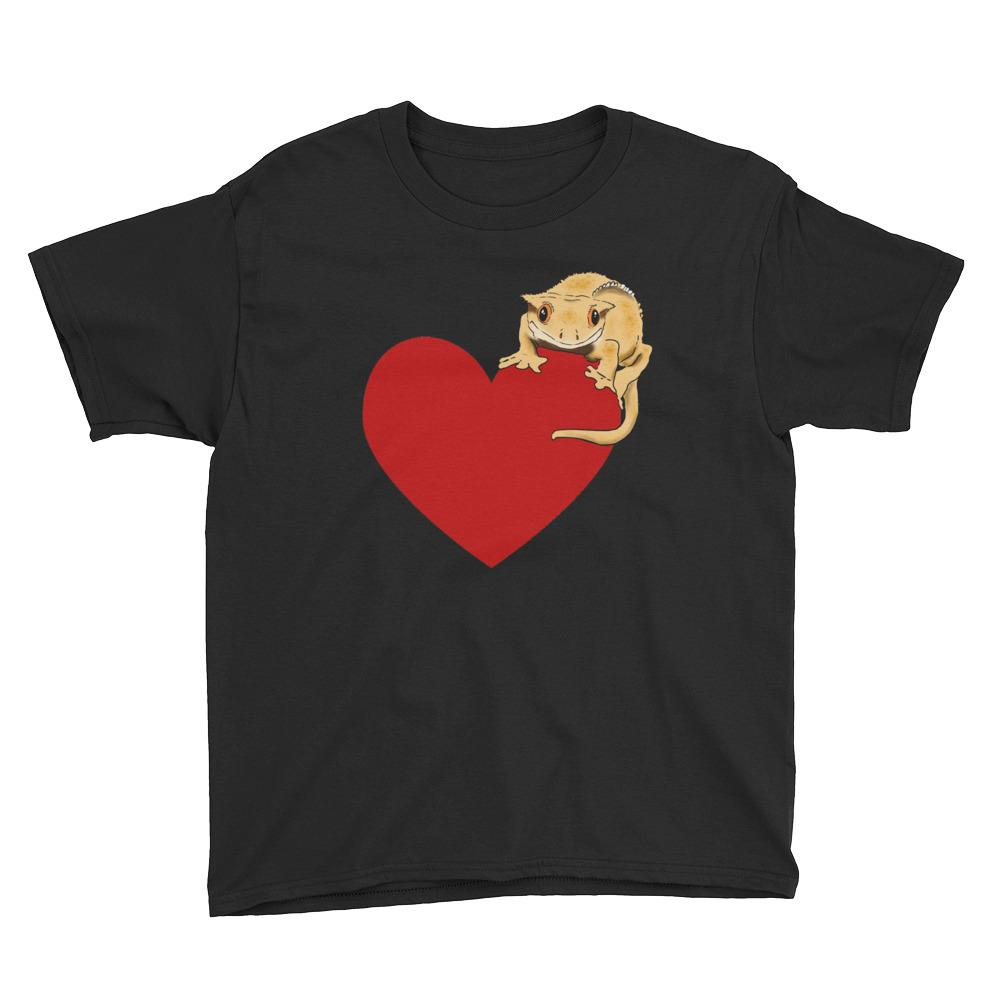 Kids T-Shirts - Kids Crested Gecko Heart T-Shirt