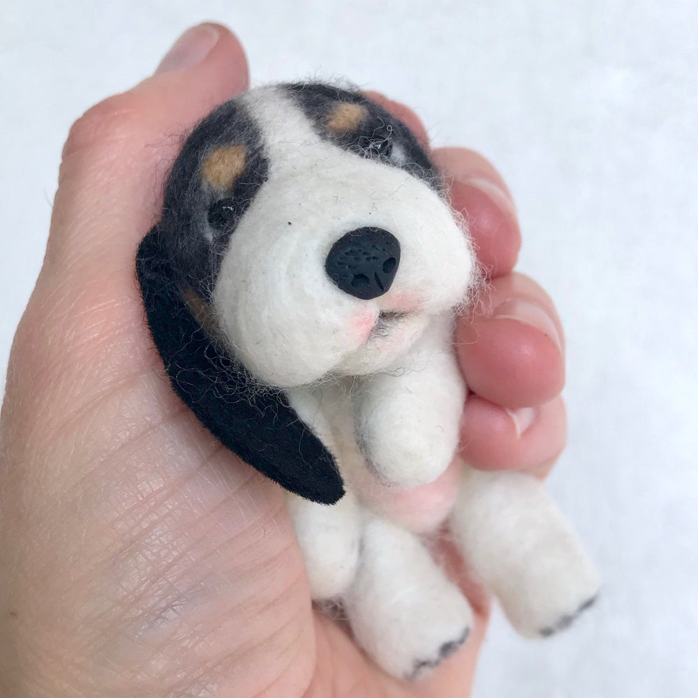 "Mini Plush - Bluebelle, 4"" Needle Felted Mini Pup"