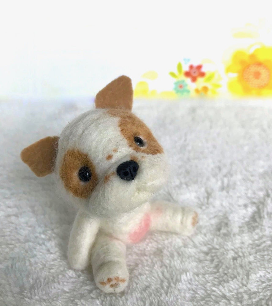 "Mini Plush - Chunk, 4"" Felted Mini Pup"