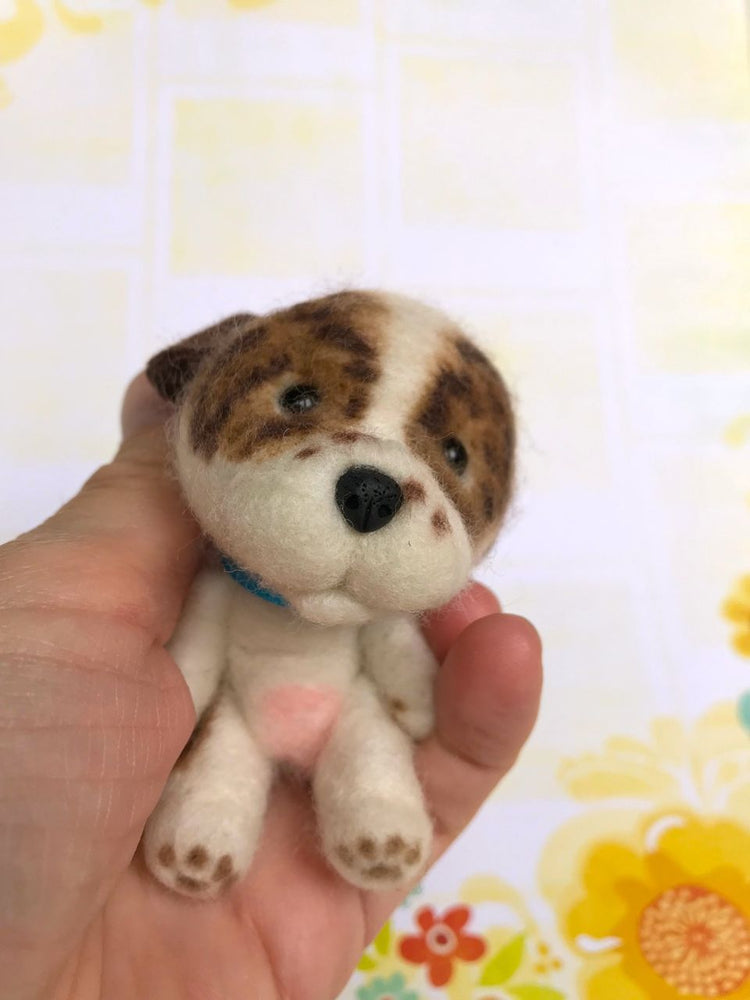 "Mini Plush - Crumb, 4"" Needle Felted Mini Pup"