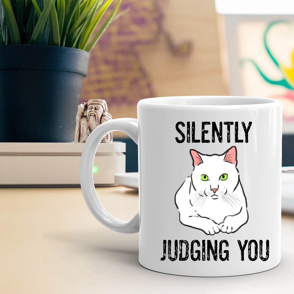 """Silently Judging You"" Funny Cat Mug"