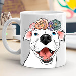 Smiling Pittie and Flowers Mug