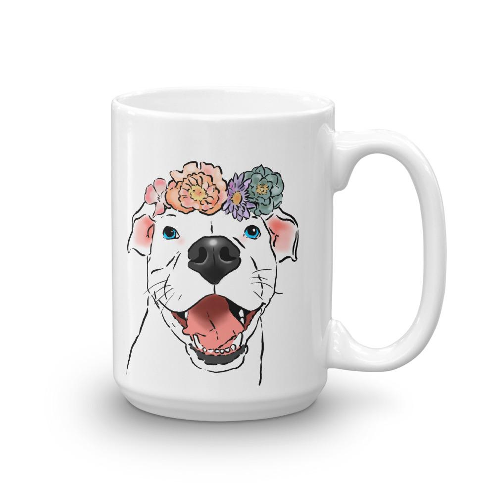 Mugs - Smiling Pittie And Flowers Mug
