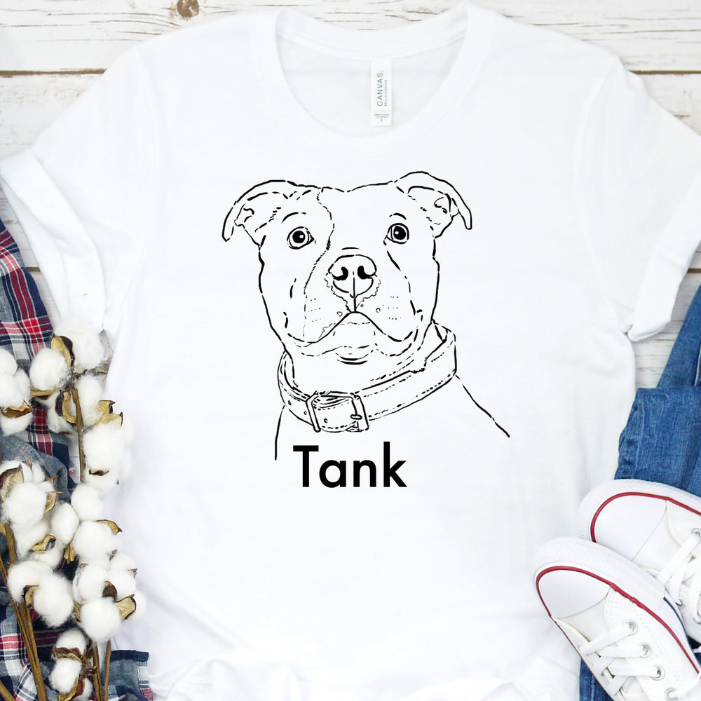 Custom Pet Sketch T-Shirt, Custom Dog Shirt, Custom Cat Shirt, Custom Pet Shirt