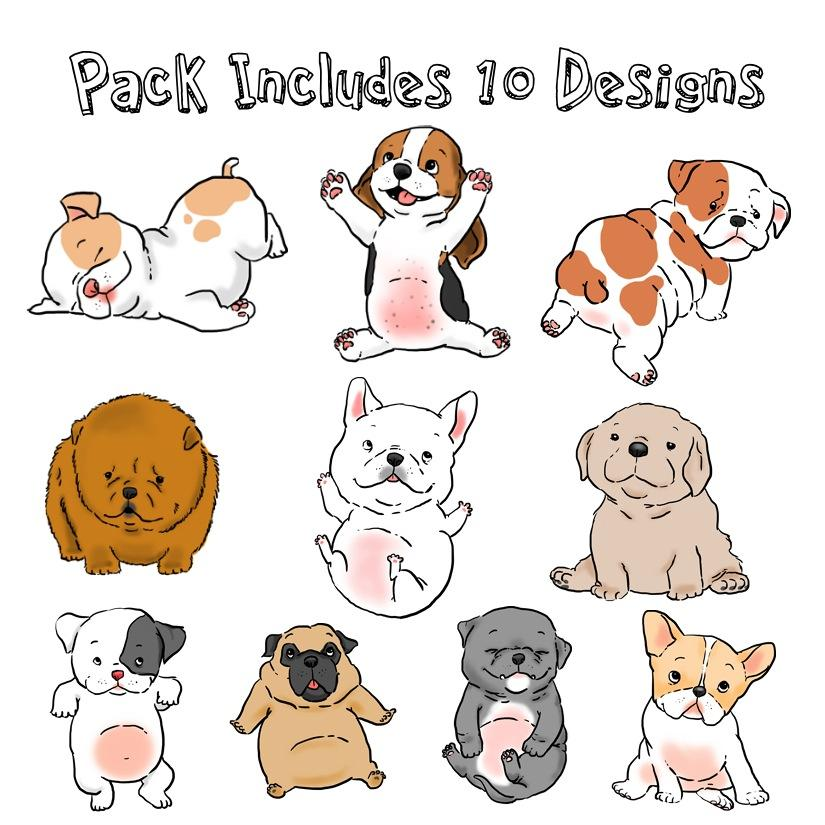 Fat Puppies Sticker 10 Pack Original Sock Dogs