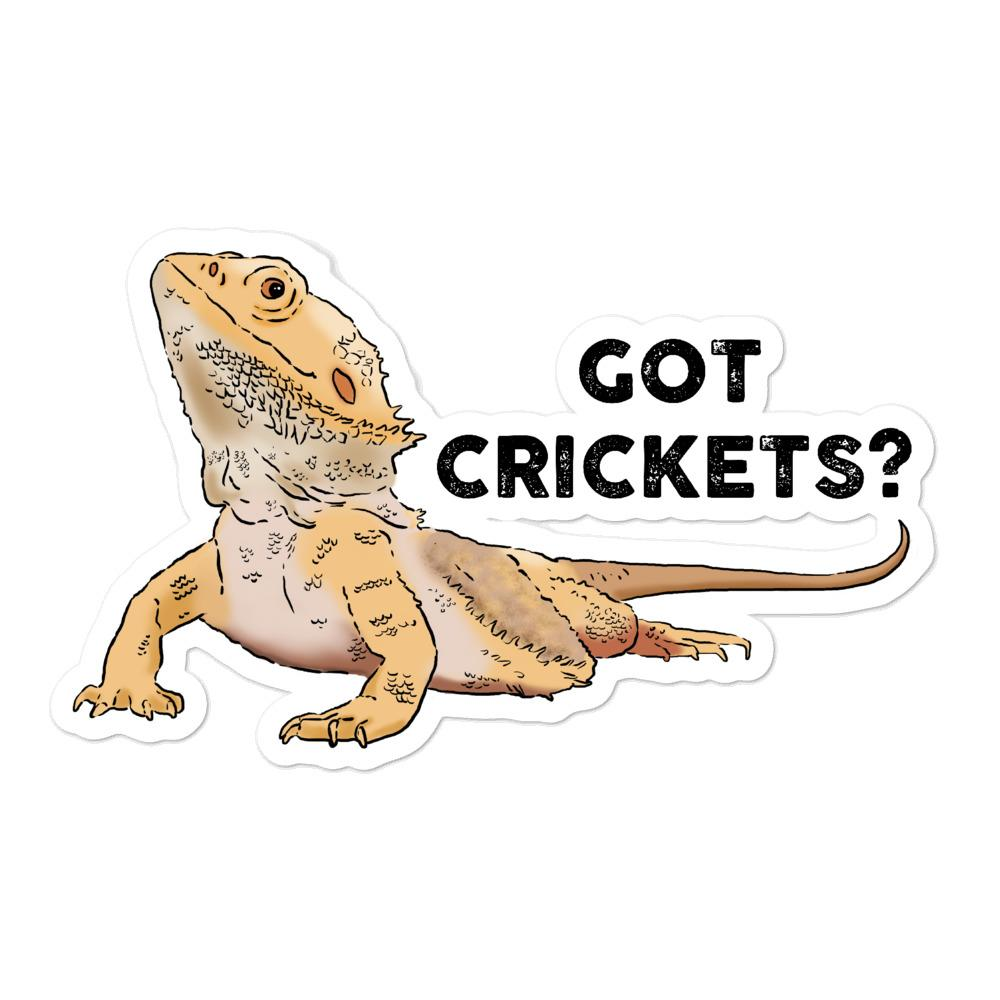"""Got Crickets?"" Bearded Dragon Vinyl Sticker"