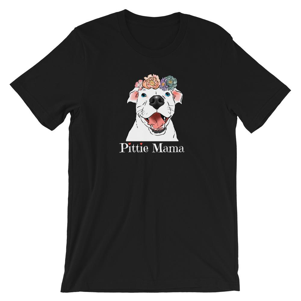 T-Shirts - Floral Pittie Mama T-Shirt