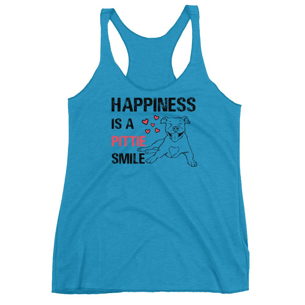 T-Shirts - Happiness Is A Pittie Smile Racerback Tank