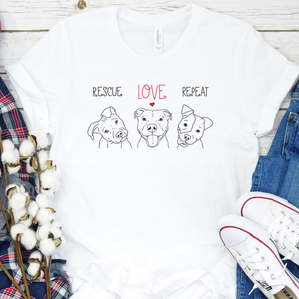 T-Shirts - Rescue, Love, Repeat Pit Bull Drawings T-Shirt