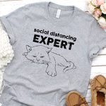 T-Shirts - Social Distancing Expert Cat T-Shirt