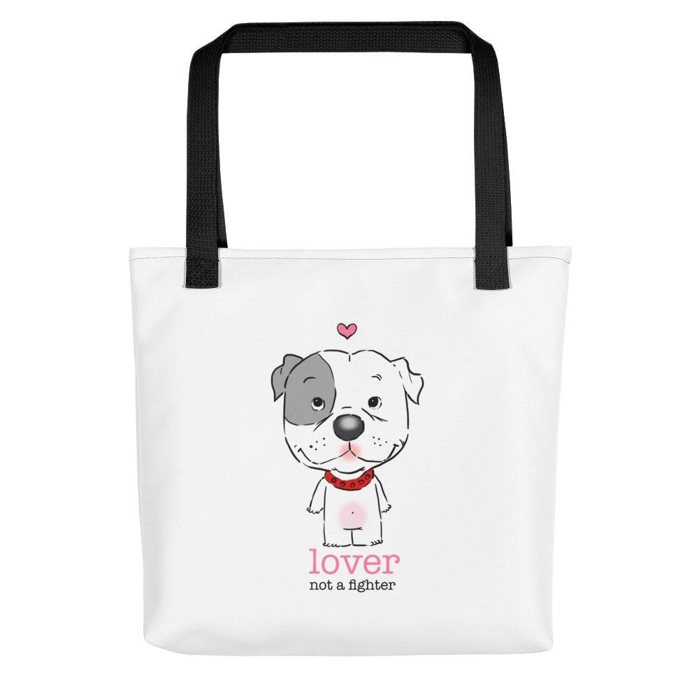 Pitbull Puppy Lover Not a Fighter Tote bag