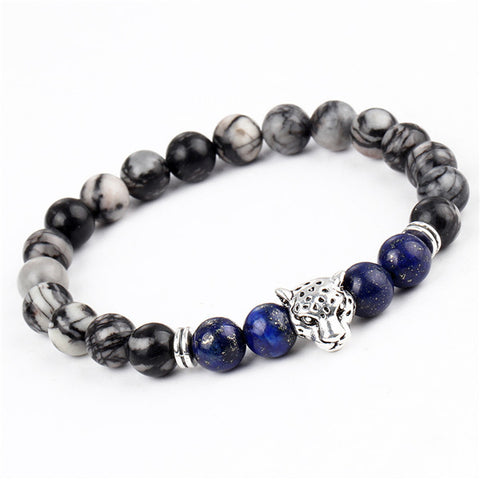 Men Fashion Lava Stone Bracelet Leopard Head