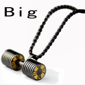 High Quality Gold Silver Black Big Small dumbbell necklace For Men