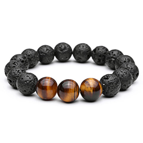 Men Fashion Bracelet Tiger Eye Natural Stone Beads Bracelets Lava Stone