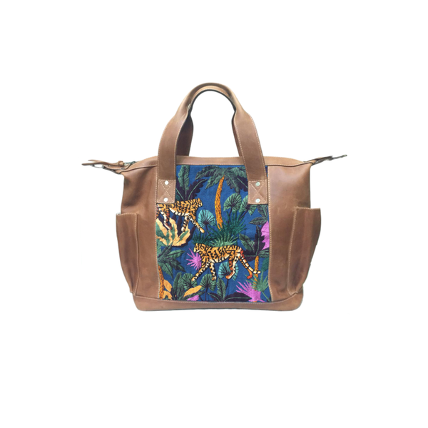 Real Leather embroidered womens tote with tropical tigers