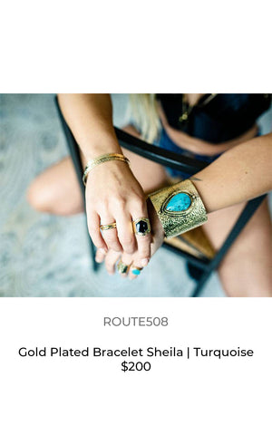 Route508 gold plated cuff turquoise