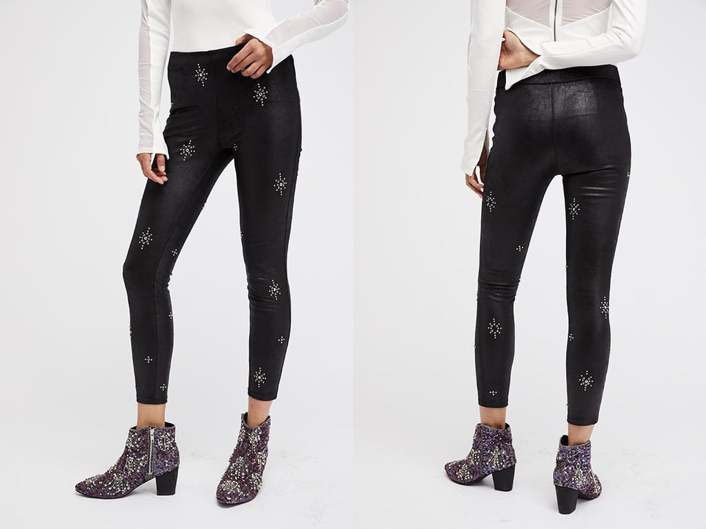 Vegan Leather Black Pants for Holiday