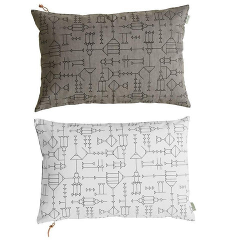 Cave Cushion in White / Grey
