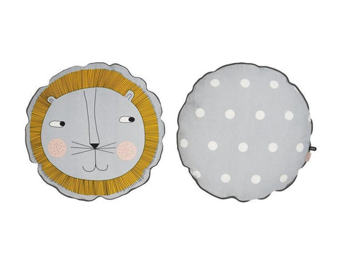 Oyoy Lion Cushion - Light Grey