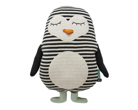 Penguin Pingo Cushion in White / Black