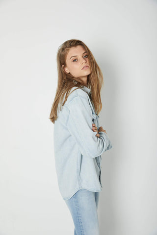 Slouch Denim Shirt - Bleach Blue