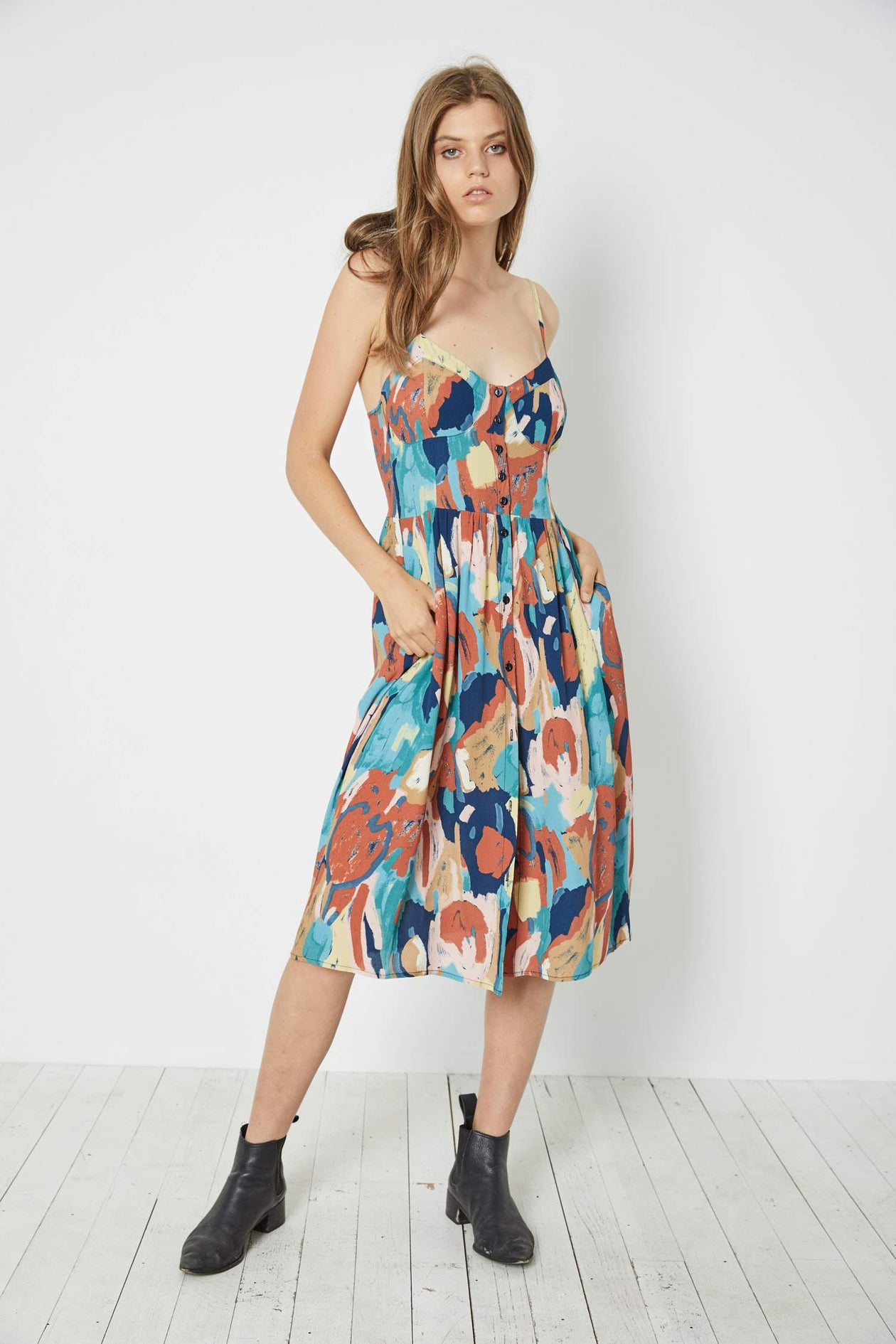 Eve Painted Tulip Dress in Rust from Rollas