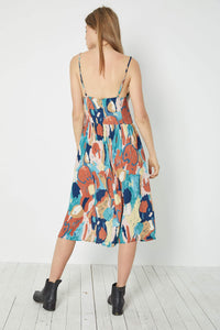 Eve Painted Tulip Dress in Rust from Rollas for Women