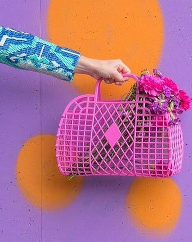 Retro Basket - Small Hot Pink