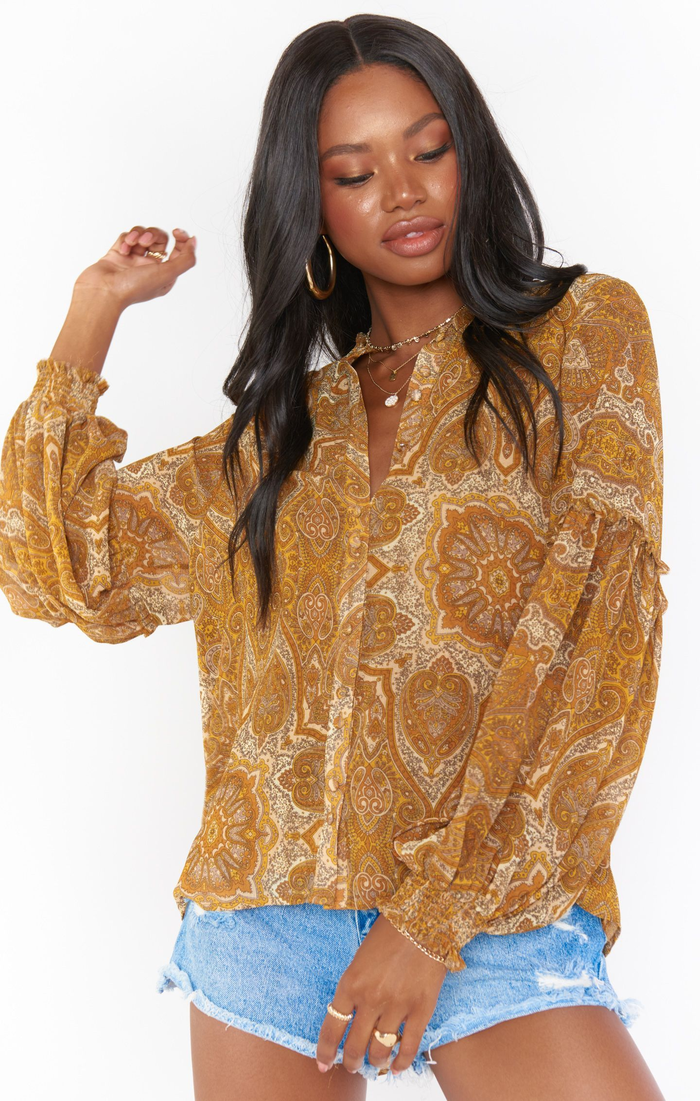 Load image into Gallery viewer, Georgie Top - Golden Paisley | Show Me Your Mumu - Women's Clothing