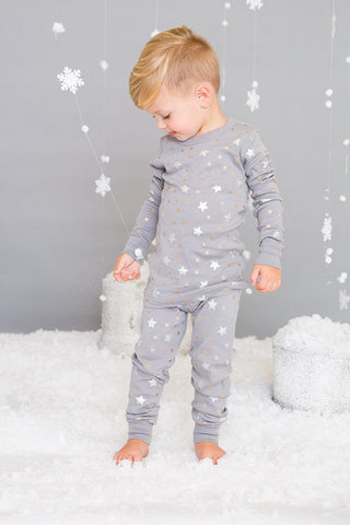 Grey Stars Long Sleeve Pajamas by Skylar Luna