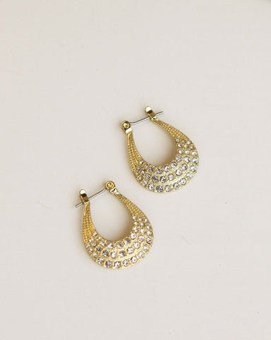 Diana Pave Hoops - Gold