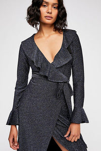 One More Time Lurex Wrap Dress by Free People