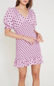 Faithfull The Brand Margherita Mini Dress Sylve Dot Print Purple Dresses
