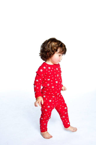 Red/Silver Stars Long Sleeves Pajamas