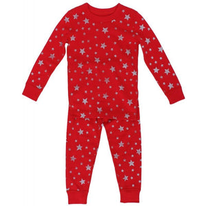 Red/Silver Stars Long Sleeves Pajamas by Skylar Luna