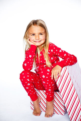 Red/Silver Stars Long Sleeves Pajamas - Bohemian Mama