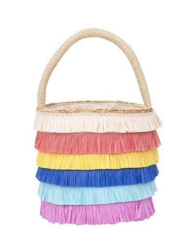 Raffa Fringed Wooden Straw Bag