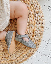 Load image into Gallery viewer, Leather Woven T-Bar | Color 'Slate Grey' | Soft Sole - Consciously Baby Shoes | Baby & Toddler Shoes