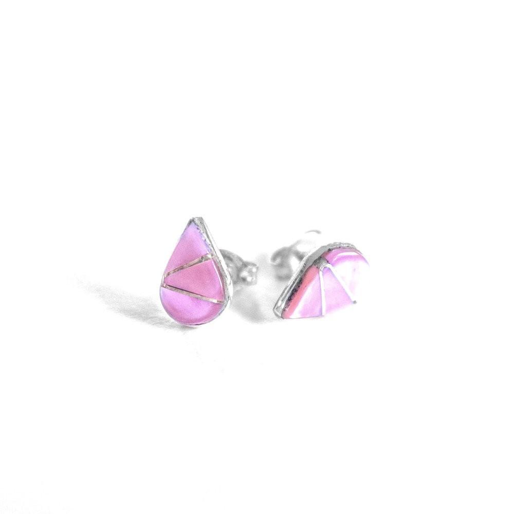 Pink Mussel Shell Teardrop Studs by JaxKelly