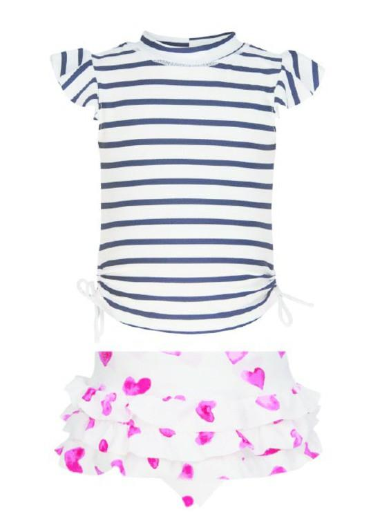 Stripe/Heart Ruffle Set by Snapper Rock