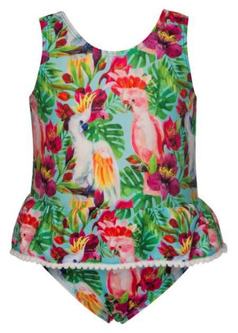 Tropical Birds Baby Skirted Swimsuit