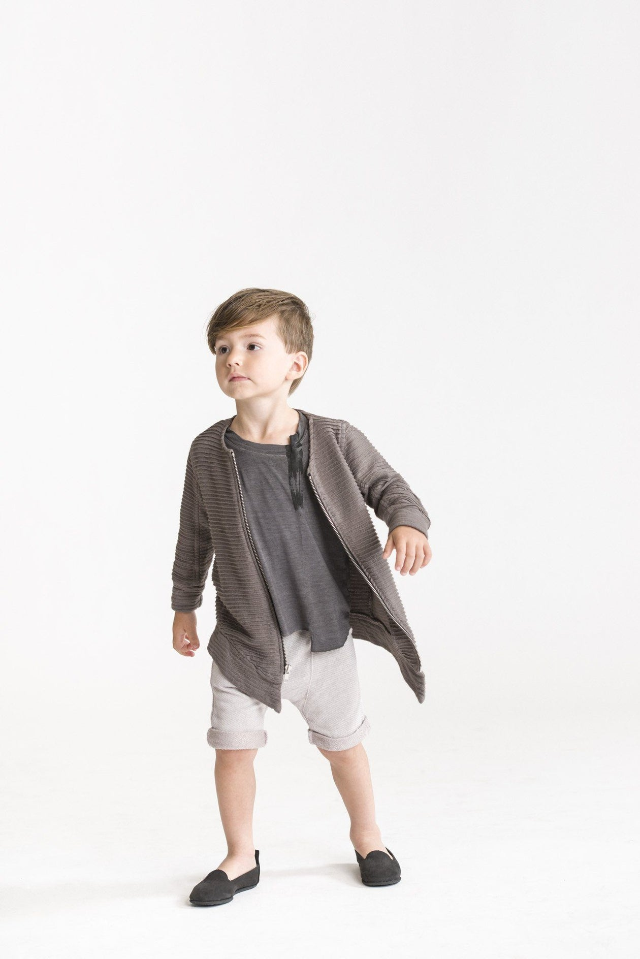 Kids Asymmetrical Shorts in Terry by Omamimini