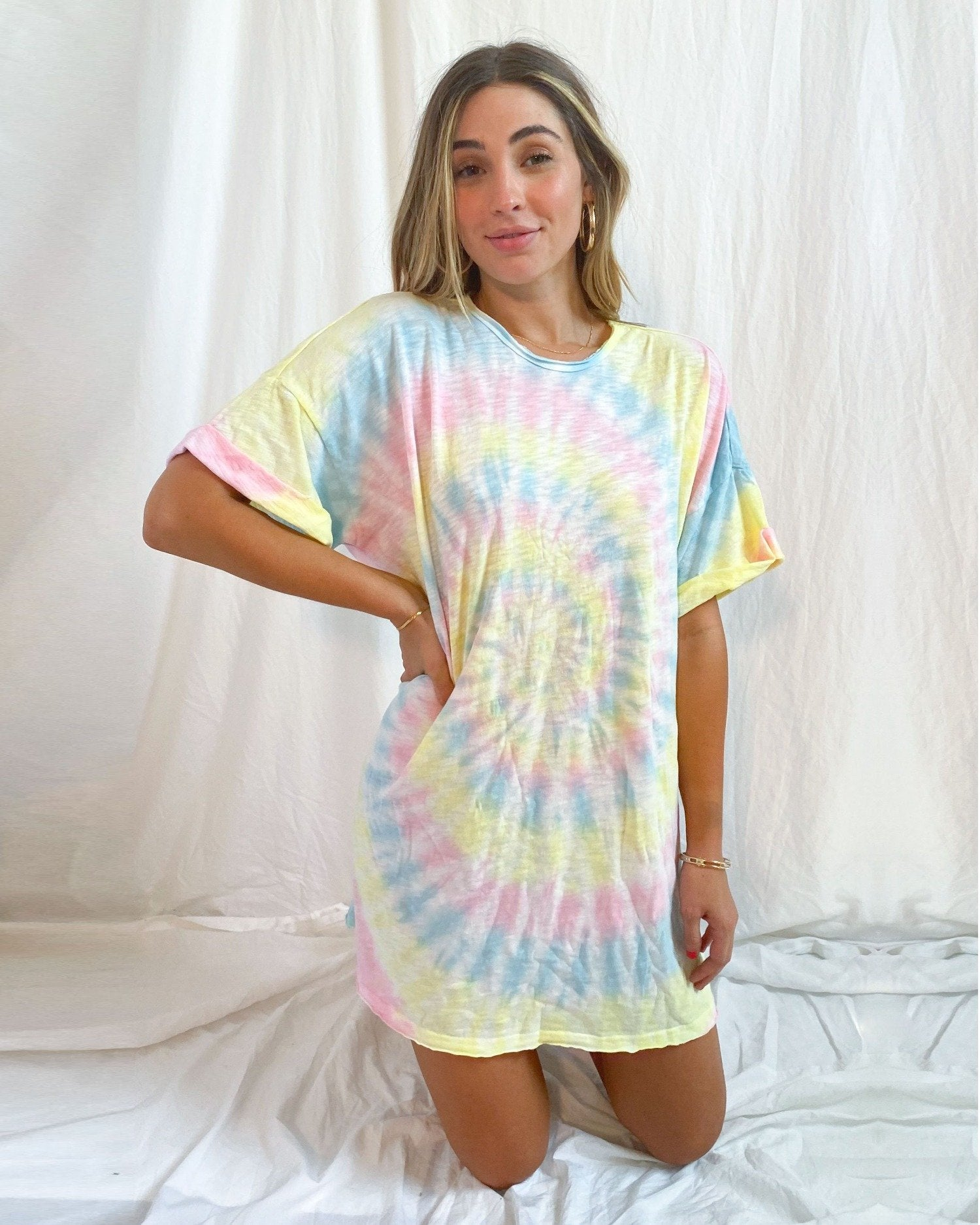 Load image into Gallery viewer, Dylan T-Shirt Dress - Rainbow Tie Dye | Show Me Your Mumu - Women's Clothing